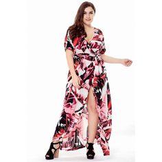 Summer Beach Long Dresses for Women Boho V Neck Print Short Sleeve Split  Side Maxi Dress Big Size 4XL 5XL 6XL bdbaa127a971