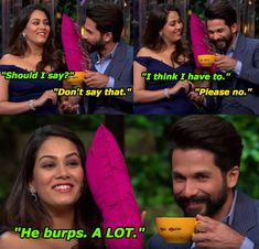 """18 Hilarious Moments From Shahid Kapoor And Mira Rajput's """"Koffee With Karan"""" Episode Latest Funny Jokes, Crazy Funny Memes, Wtf Funny, Hilarious, Bollywood Memes, Bollywood Girls, Best Love Proposal, Proposal Videos, Koffee With Karan"""