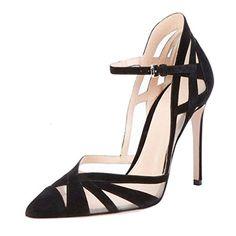 ENMAYER Femmes Suede Boucle Courges Talons hauts noirs pointu Toe Casual Party Chaussures pour Femmes Stiletto Chaussures Sandales EU 37