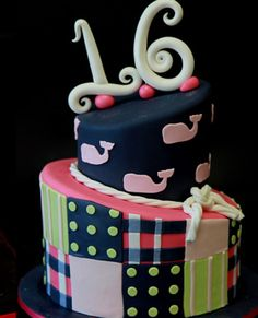 preppy sweet sixteen cake