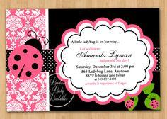 Damask Ladybug Baby Shower Invitation - Custom Printable. $10.00 USD, via Etsy.