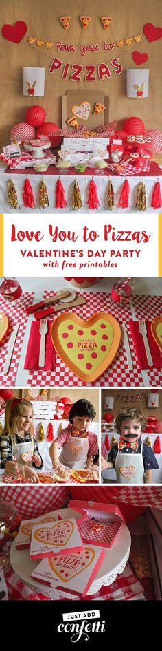 Valentine's Day pizza party, valentines day, you have a pizza my heart, love you to pizzas, partnership, oriental trading, free printable, pizza valentines, kids pizza party, make your own pizza, pizza party, just add confetti, pizza box printable, mustac