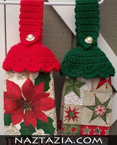 Crochet kitchen towel holder toppers