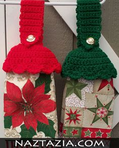 Crochet kitchen towel holder toppers