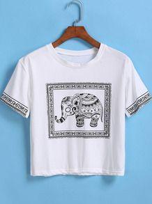 White Short Sleeve Elephant Print Crop T-Shirt