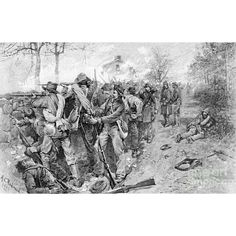 BATTLE OF FREDERICKSBURG. Confederate troops under Generals T.R.R. Cobb and Joseph Kershaw, behind the stone wall on Marye's Heights, during the Civil War Battle of Fredericksburg, 13 December 1862. Line engraving by Allen Christian Redwood, c1886.