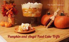 Easy pumpkin pudding with chunks of angel food cake