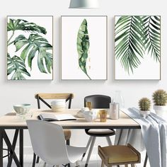 Watercolor Leaves Wall Art Canvas Painting Green Style Plant Nordic Posters and Prints Decorative Picture Modern Home Decoration Canvas Poster, Canvas Art Prints, Canvas Wall Art, Canvas Paintings, Watercolor Plants, Watercolor Leaves, Living Room Pictures, Wall Art Pictures, Style Pictures