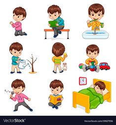 Boy does daily routine actions set Royalty Free Vector Image The Effective Pictures We Offer You Abo Autism Learning, Learning Activities, Kids Learning, Activities For Kids, English Primary School, Sequencing Pictures, Routine Chart, Kids Schedule, Homeschooling