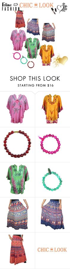 Bohemian Fall Fashion by baydeals on Polyvore featuring skirt, tops, bracelet, wrapskirt and kaftantop.  http://stores.ebay.com/mogulgallery