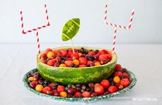 Football Themed Fruit Bowl with Watermelon and Field Goals for a delicious and healthy centerpiece for your gametime tablescape