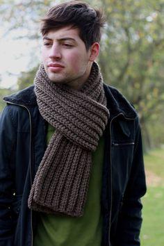 Men's Scarf Chunky Scarf for Men Chunky Knit Scarf Winter by zukas