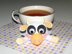Coasters for drinks Funny cow Stand for the cup by QuillingLife