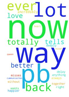 me and pb get back together right now without delay - me and pb get back together right now without delay pb cummuniactes to me a lot a lot better more postivley in every way now pb misses every part of me incredibly he cant wait to see me be with me be back with me he wants me back with all his heart and soul more than anything now he tells me he wants me back now he tells me he misses me now he tells me he loves me is totally deeply in love with me in every way abunadmnntly now he totally…