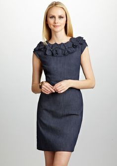 SANDRA DARREN Denim Dress with Floral Appliques