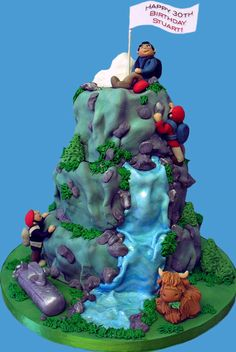 ideas for bren's mountain train cake Rock Climbing Cake, Waterfall Cake, Mountain Cake, Camping Cakes, Dad Cake, Decoration Patisserie, Dad Birthday Cakes, Sculpted Cakes, Novelty Cakes