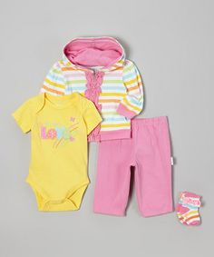 Look what I found on #zulily! Pink & Yellow 'All I Want is Love' Bodysuit Set - Infant by Vitamins Baby #zulilyfinds