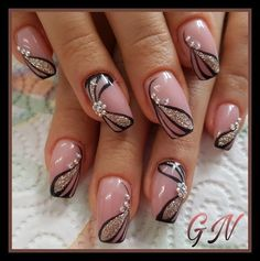 Fingernail Designs, Pink Nail Designs, Beautiful Nail Designs, Beautiful Nail Art, Acrylic Nail Designs, Nails Design, Nail Art Flower Designs, Flower Design Nails, Fancy Nails