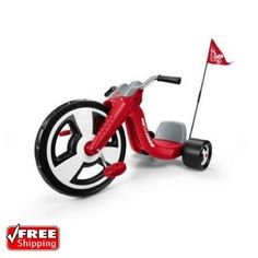 """Radio Flyer Big Sport Trike Kids Front Wheel Tricycle Bike Racing Design 16"""" Red 