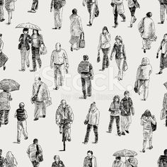 pattern of the pedestrians royalty-free stock vector art Human Figure Sketches, Human Sketch, Human Figure Drawing, Figure Sketching, Urban Sketching, Person Drawing, Drawing Base, Drawing People, Architect Drawing