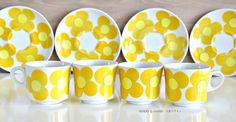 Vintage Cup Saucer Yellow Flower by SimplyLoveNordic