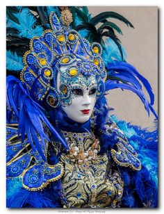 Identity hidden behind the Mask. Love vibrant blue
