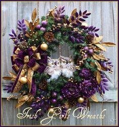 Dark Purple & Antique Gold Christmas Winter Owl Wreath by IrishGirlsWreaths