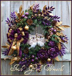 Dark Purple & Antique Gold Christmas Winter Owl Wreath by IrishGirlsWreaths