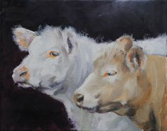 Brown and Beige Cows on Dark Background by ClairHartmannFineArt, $185.00