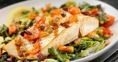 Serve pan-seared cod and white beans in a pantry-friendly puttanesca sauce Fish Recipes, Seafood Recipes, Gourmet Recipes, Grilled Halibut, Sauce Hollandaise, Seafood Dinner, Filets, Lentil Soup, White Beans