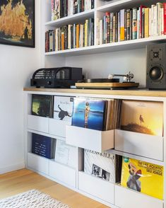 Vinyl Record Storage Shelf, Cd Storage, Built In Storage, Diy Storage Headboard, Pallet Tv Stands, Built In Bookcase, Boho Living Room, Cool Rooms, Entertainment Products