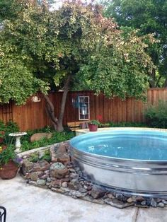 "(Image Link)Above ground pools are a great way to beat the heat and they give you a cool place to hang during those long summer days, but most above ground pools look pretty crappy compared to these shiny stock tank pools.(Image Link)It's the pool trend you're sure to see in backyards across America this summer, whether set up neatly on the patio like the photos above or just placed out back like a ""hillbilly swimming pool"". My husband made a Hillbilly Swimming Pool. . . . #..."