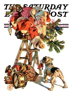 """Santa Up a Ladder"" By J.C. Leyendecker. Issue: December 20, 1930. ©SEPS. Giclee print available at Art.com."