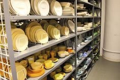 Look! Martha Stewart's Prop Room Dish Display, China Display, China Storage, Martha Stewart Blog, Warehouse Design, Food Photography Props, Table Setting Inspiration, Room Of One's Own, Studio Kitchen