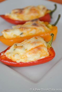 Fiesta Stuffed Mini Peppers 12-18 Sweet Mini Peppers (halved and seeded) 8 oz package of Cream Cheese (softened) 8 oz shredded cheddar cheese or shredded Monterrey jack 1 tbsp lime juice 1 tbsp fresh cilantro ½ tsp garlic salt