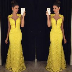 Abendkleider Yellow Lace Long Evening Dress Party Elegant Vestido De Festa Mermaid Girls Long Prom Dresses Sleeveless 2016