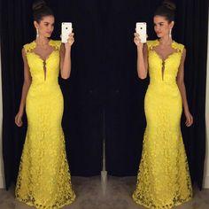Abendkleider Yellow Lace Long Evening Dress Party Elegant Vestido De Festa Mermaid Girls Long Prom Dresses Sleeveless 2016
