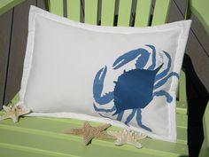 Lumbar Blue Crab pillow indoor outdoor 14x20 coastal ocean SCUBA crabbing fishing beach gulf east coast crustacean Crabby Chris Original