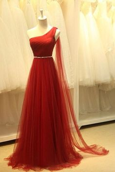 Elegant One Shoulder Evening Dresses Sheer Tulle Ruffles Dark Red Elegant Prom Dresses