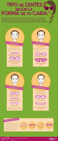 Tipo de lentes según la forma de tu cara.     #fashion #moda #lentes #cool #infografia #hair #style #streetstyle