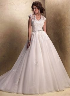 Ball Gown High Neckline Beaded and Lace Appliqued Tulle Wedding Dress WD1947 www.tidedresses.co.uk $368.0000