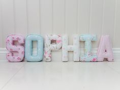 93 Sophia S - Rosebud Rose, O - Dotty Sky, P - Bird Trail Rose, H - Pink Love Hearts, I - Milly Duckegg, A - Baby pink gingham