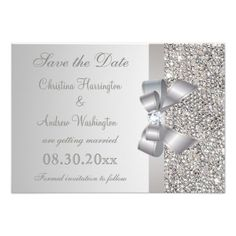 Silver Sequins, Bow and Diamond Save the Date Personalized Invitation