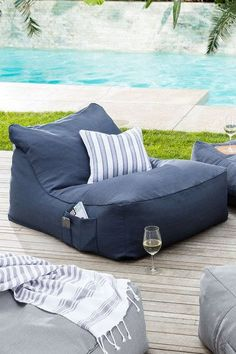 Life Deluxe Beanbag at EziBuy Home Australia. Buy homeware and gifts at exceptional value. Fast delivery and 30 day returns. Outdoor Bean Bag Chair, Outdoor Beds, Outdoor Cushions, Outdoor Chairs, Outdoor Living, Outdoor Decor, Bean Bag Lounge Chair, Beanbag Chair, Pool Furniture