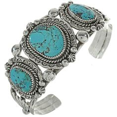 Three Stone Turquoise Silver Cuff holds Bisbee II stones of extraordinary beauty! Navajo made in our shop with hammered Sterling, drops & star-bursts. Navajo Jewelry, Southwest Jewelry, Turquoise Jewelry, Turquoise Bracelet, Thing 1, Silver Work, Silver Cuff, Native American, Jewerly