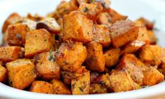 This recipe lets the natural flavor of sweet potato shine, elevating it with just a few select seasonings like cinnamon, turmeric, thyme, salt, and pepper.