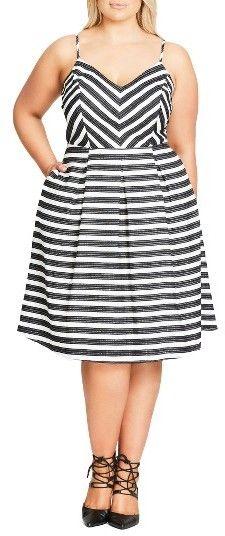 Plus Size Women's City Chic Marilyn Stripe Fit & Flare Sundress