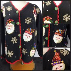 Ugly Christmas Sweater Black with Santas Sequins Gold Beaded Snowflakes  SZ L    #AlexaGrace #Cardigan