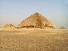 The Bent Pyramid with satelite pyramid (left) and Red pyramid in the background, Dashur, Egypt