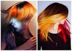 Natural roots combined with bold strokes of red and yellow give hair a vivid, neon glow. The bright hues seem to give off their own light, flashing out from the neutral base tone. Application of th...